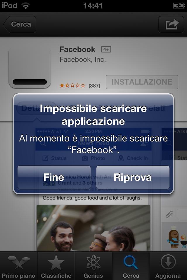 Errore Facebook 6.7.1