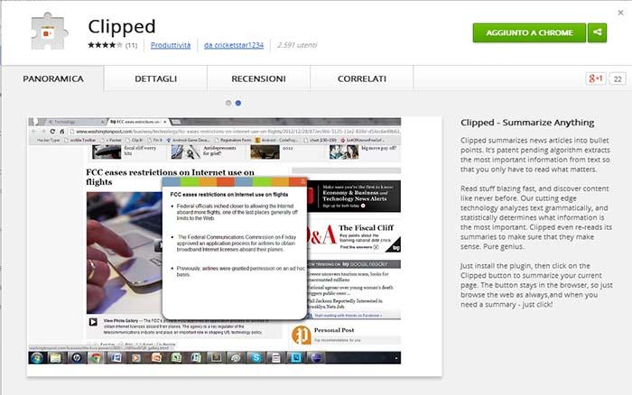 Estensione di Clipped per Chrome