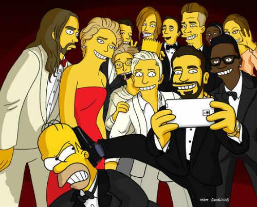 Il selfie di ellen secondo i simpson